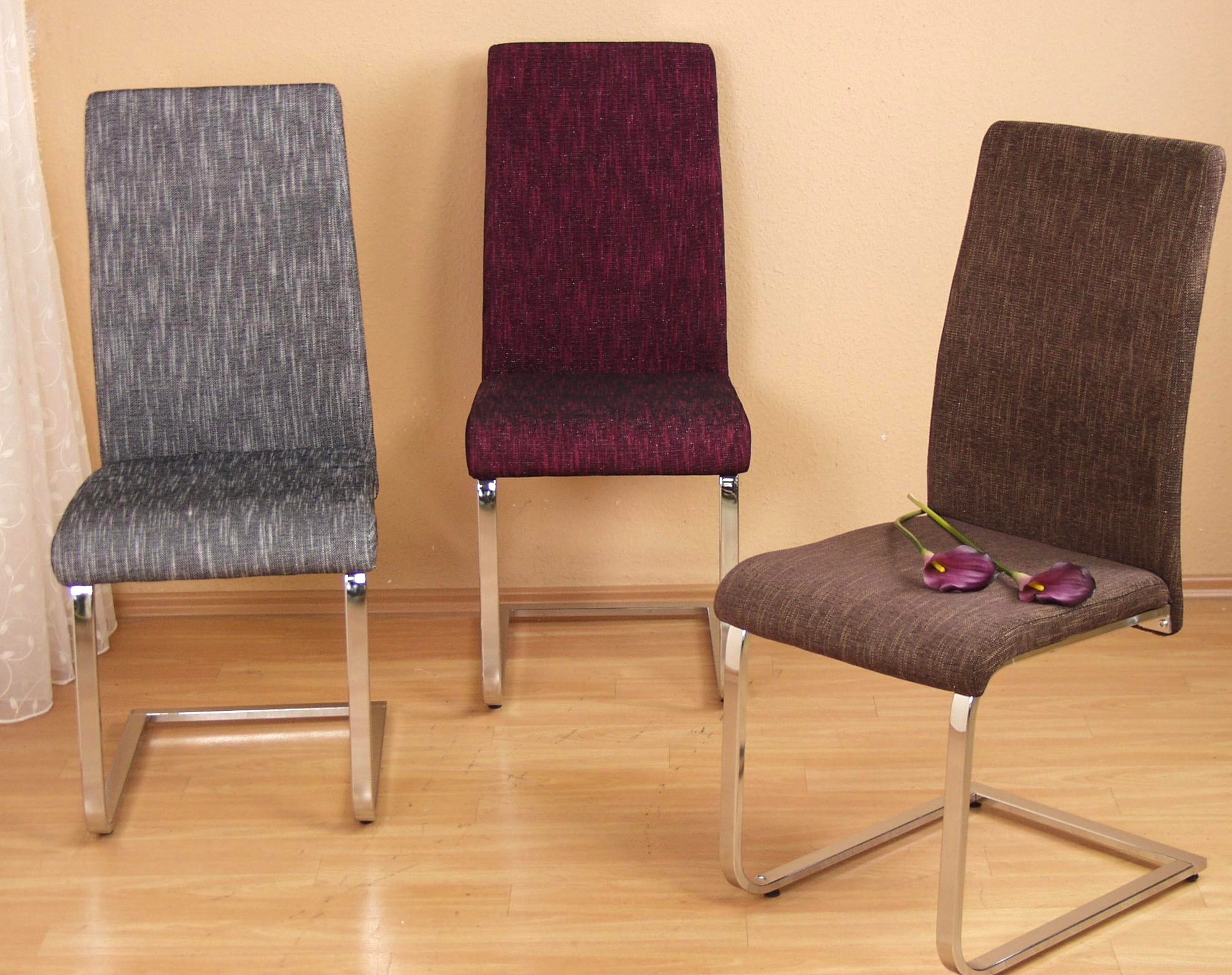 2 x stuhl st hle esszimmerst hle schwingstuhl webstoff. Black Bedroom Furniture Sets. Home Design Ideas