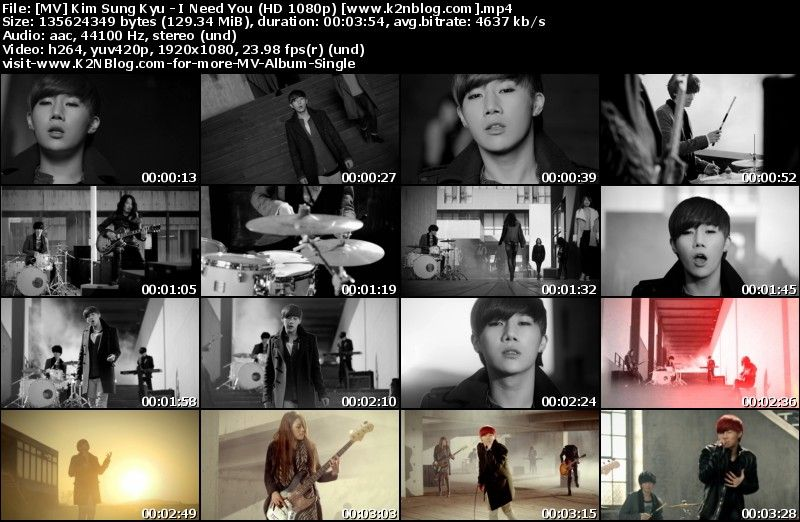 [MV] Kim Sung Kyu   I Need You (HD 1080p Youtube)